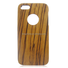 Zebra wood phone case, back cover with round hole, single bottom wooden case for iphone5