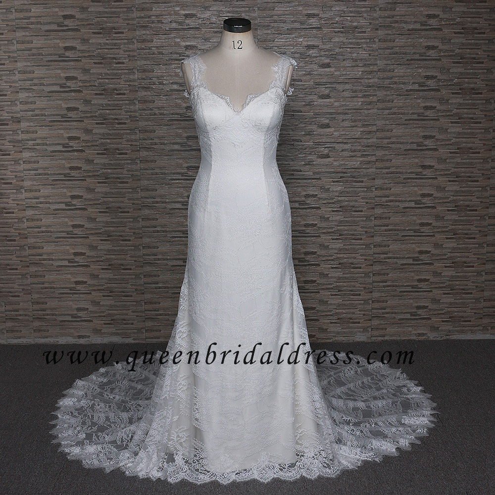 Splendid Sweetheart Neckline Backless Lace Mermaid Bridal Dresses