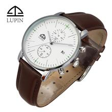 Luxury Japan movt genuine leather men watch wrist for business and leisure