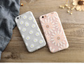 Painted scrub cartoon embossed TPU case for iphone 7,Chrysanthemum sunflower flower and TPU case for iphone 7