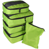 5pc Packing Cubes Set Large Travel Luggage Organizer 4 Cubes 1 Laundry Pouch Bag(green)