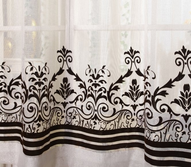 china wholesale ready made elegant design flocking curtain,ready made curtains for living room