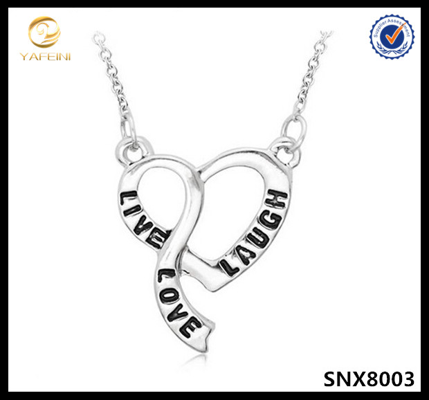 Engraved Jewelry Sterling Silver Live Laugh Love Delicate Inspiration Pendant Necklace