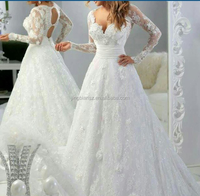most beautiful exquisite lace long sleeves beaded bridal wedding gown #OW409