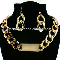 New ID Statement Necklace & Earrings Set Choker Link Chain CHUNKY Gold-HOT