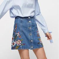 Embroidered Denim Skirt High Waist Mini A Line Skirt
