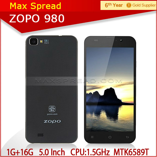 Best selling zopo 980 mtk6589t 4.2 Jelly Bean OS 1GB 16GB ROM brand phone zopo
