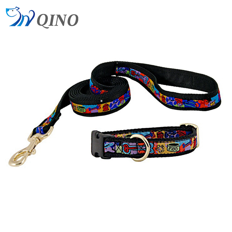 QN-A-3818 jacquard dog collars and leashes