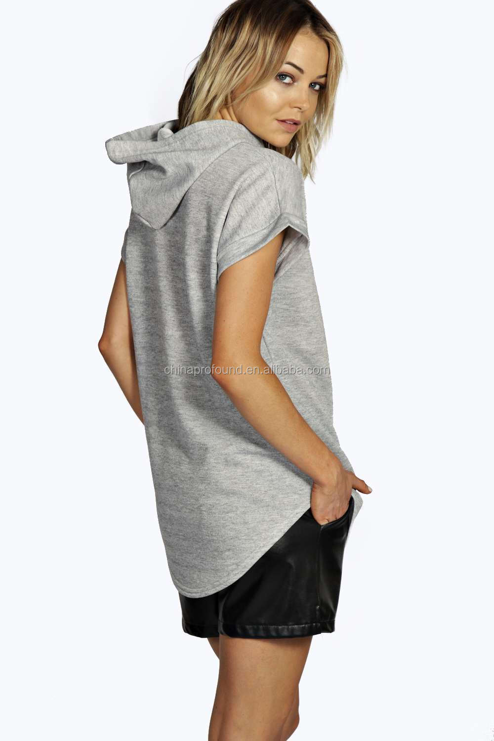 100% cotton women hoodies/longline sport hoodies/Custom short sleeve hoodies sweater