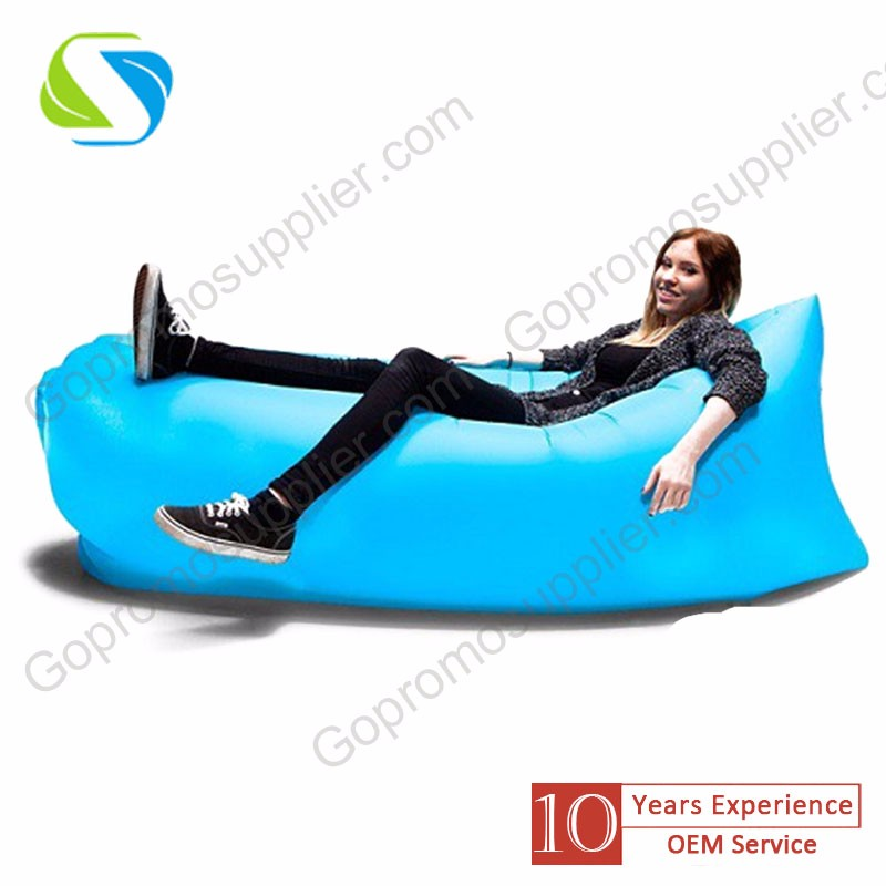 2016 factory cheap oem logo full print outdoor foldable promotion inflatable sofa bed fast production price