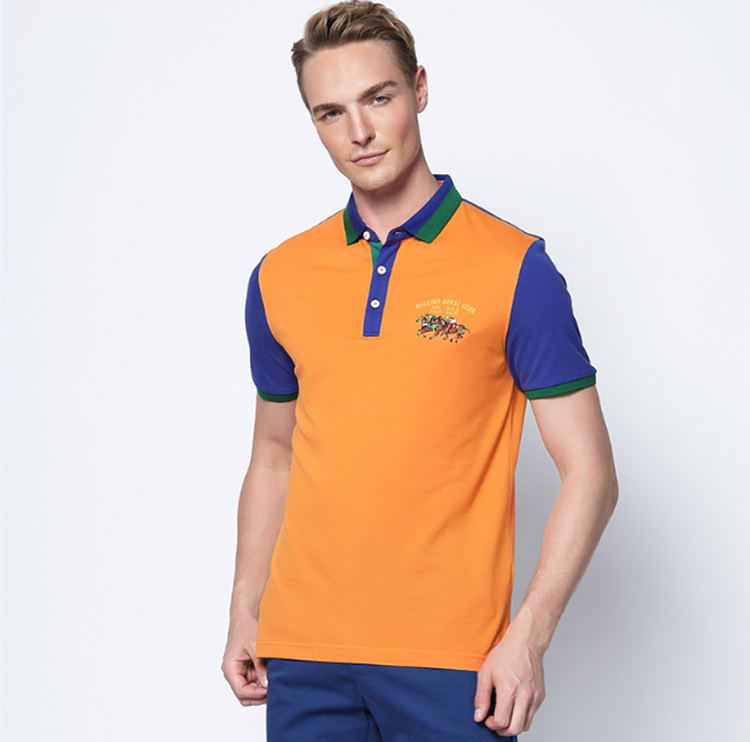 New style slim fit anti-shrink business man clothes 100% cotton men's contrast polo t shirts(A811)