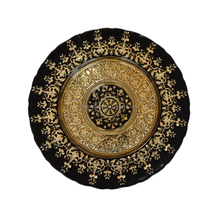 Black Round Underplate Charger Wholesale Wedding Gold Flora Glass Plate For Restaurant