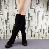 Classic women suede leather half boots high heel made in guangzhou factory