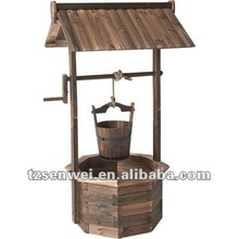 decorative wooden wishing well, wooden ancient well, garden well
