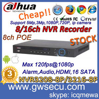 new 8ch poe 1080p full hd 2megapixel 8ch 1.5u nvr recorder dahua hikvision network video recorder