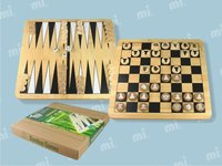 Handmade wood game pieces chess board set and wooden backgammon