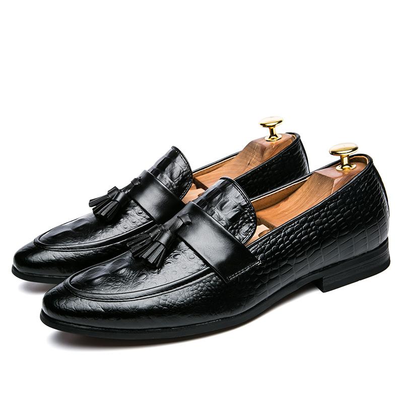 men winter italian fashion snake skin brogue leather oxford tassel slip on pointed toe shoes designer male formal cool footwear  (8)