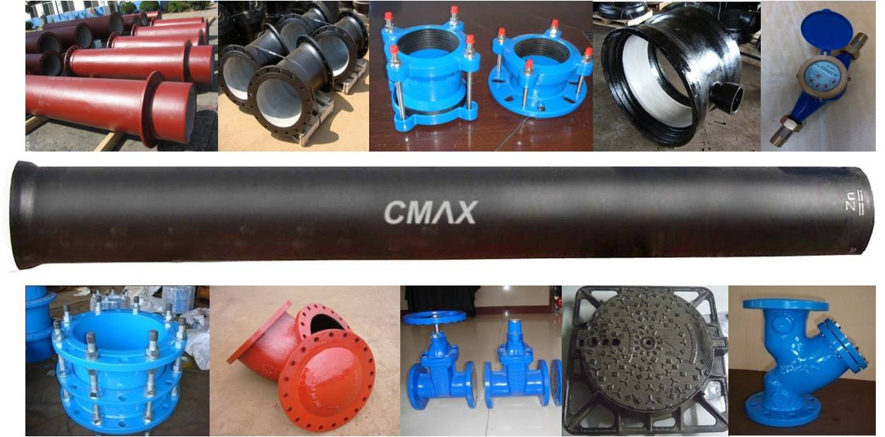 CMAX ISO2531 EN545 EN598 Ductile Iron Pipe with cement lining