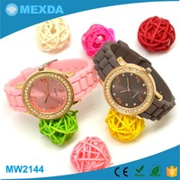 Fashion high quality gold plated alloy case silicone strap women watches