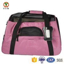 Customized fashion pink balck mesh indoor and outdoor pet carrier travel transport bag
