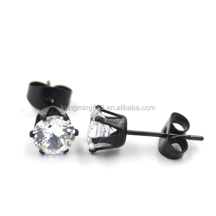 3mm - 9 mm Stud earrings jewelry fashionable design ear studs black crystal earrings