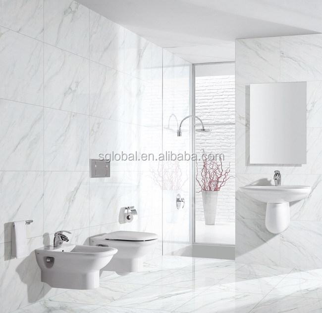 Light Veins Calacatta White Marble Glazed Full Polished Porcelain
