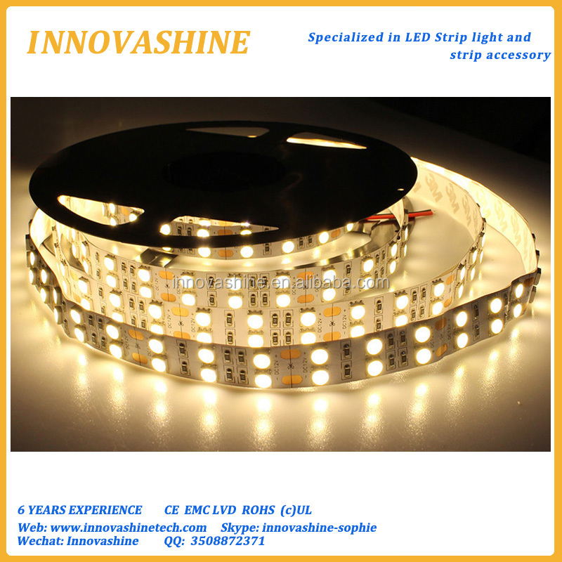 Double row High intensity 120leds/m 5m roll super bright 12 volt flexible tape ruban light 5050 smd led strip with 3M back tape