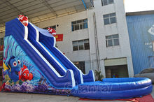 Commercial inflatable Nemo cartoon water slide with pool, giant inflatable water slide for sale