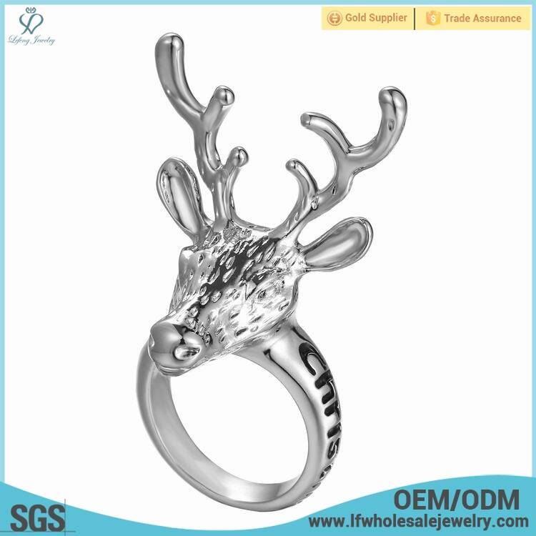 Wholesale stainless steel mental Christmas animal rings jewelry