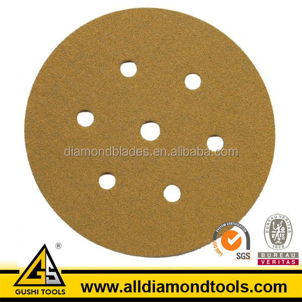 Premium Yellow Type Abrasive hook and loop fastener Sanding Disc