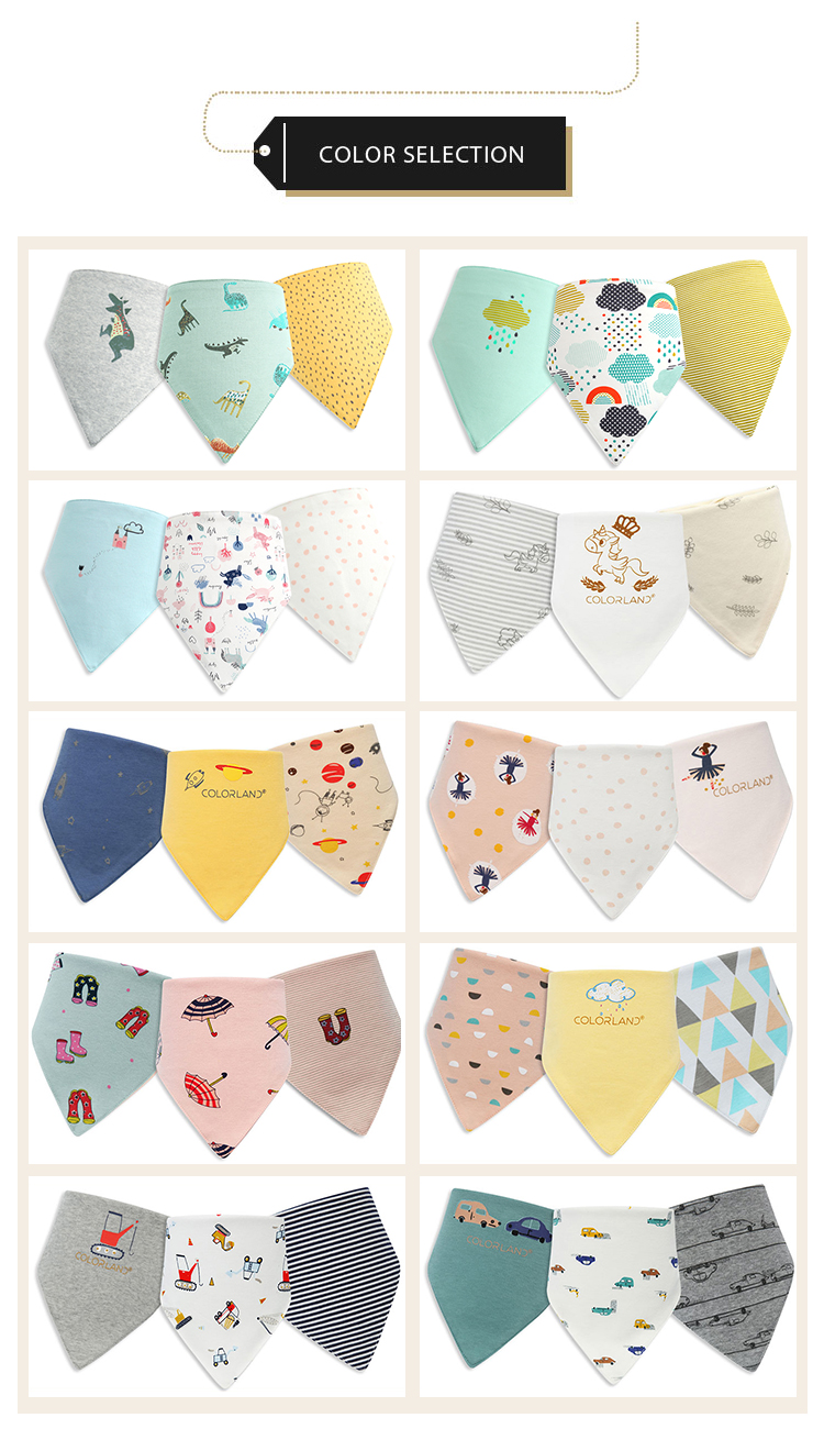 COLORLAND customize cartoon comfortable 100% cotton baby bibs