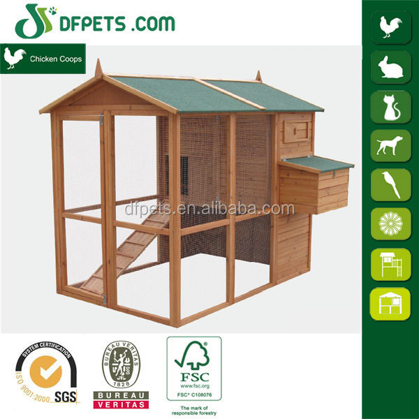 Wood backyard chicken coop with large run