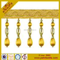 High quality wholesalers curtain beaded trim fringe tassel rayon material for home decor