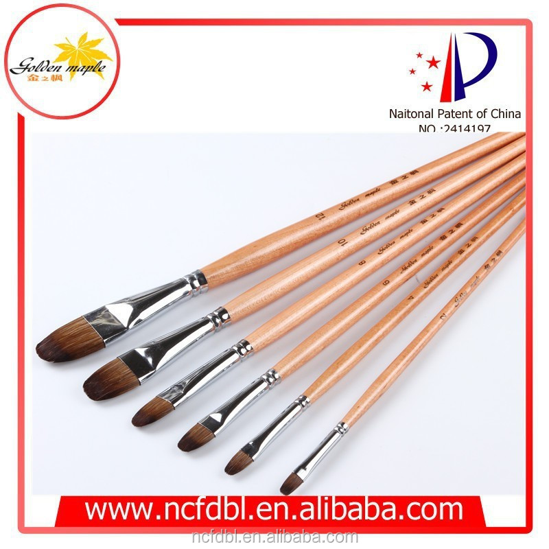 Wood handle and high quality weasel hair Acrylic Paint Brush set