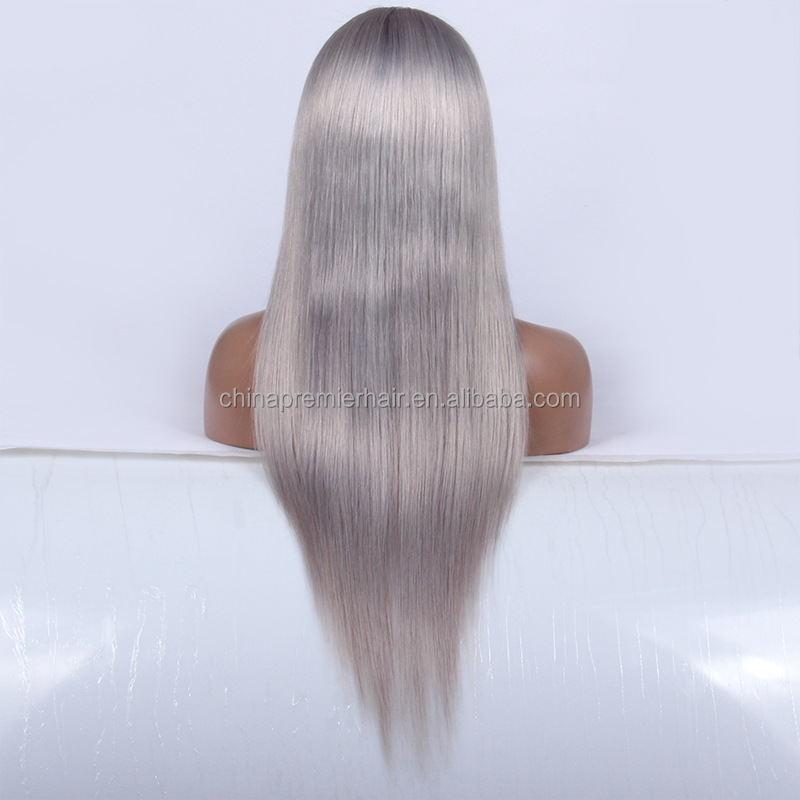 10A Grade Virgin Hair 22 Inch Silk Straight silver grey human hair lace wigs