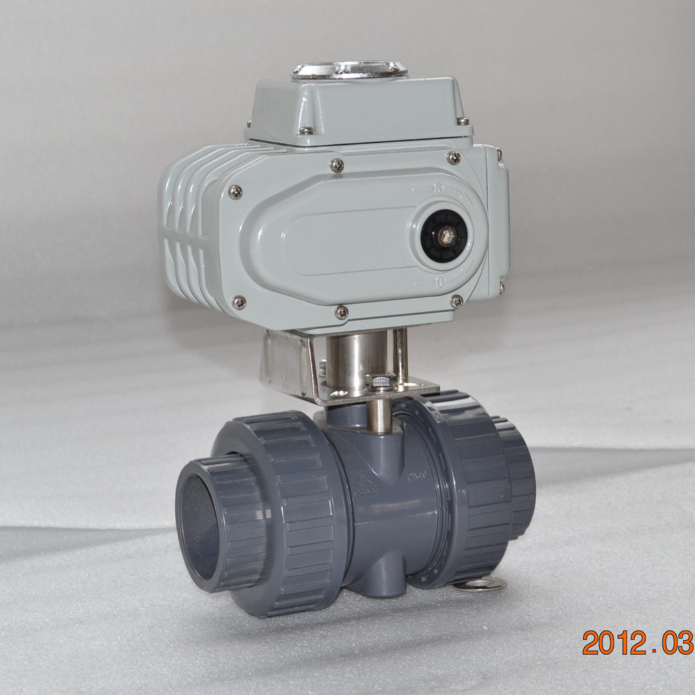 small UPVC union pipe ball valve with electric actuator
