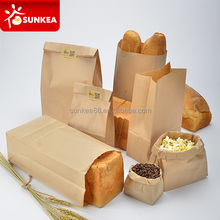 Custom brown kraft paper bakery bread packaging bags