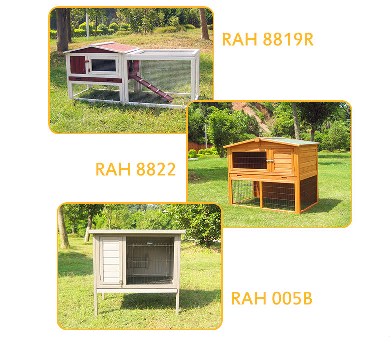 Cheap Wood rabbit hutch design for bunny cages with large run and tray