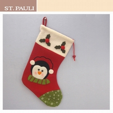 18 inch hot sale hanging christmas penguin candy stocking wholesale drawstring xmas bag