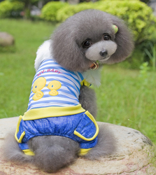 Fur collar And Duck Pet Dog Puppy Keep Warm Autumn Winter Clothes Suit With Four Foots and Hat