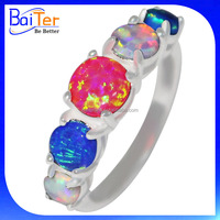 China Wholesale Opal Jewellery/925 Sterling Silver Blue Fire Synthetic Mexican Opal Jewelry With Lab Creat 925 Silver Opal Ring