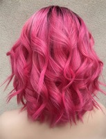 Wholesale 2016 Top Quality Full Lace Wig 1B/Pink Short Cut Wave Glueless Full Lace Wig