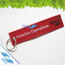 fabric cheap customized logo embroidered keychain keytag