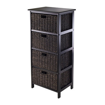 Wood material 4 Section Storage Shelf with 4 Black Foldable Baskets