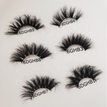 27mm Long Big Dramatic Fluffy Mink Fur Eyelash <strong>100</strong>% Real Wholesale 6D 3D Mink Eyelash with Private Label