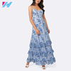 Lady Floral Prints Dress Modern Large Inventory Cute Lady Dresses On Sell