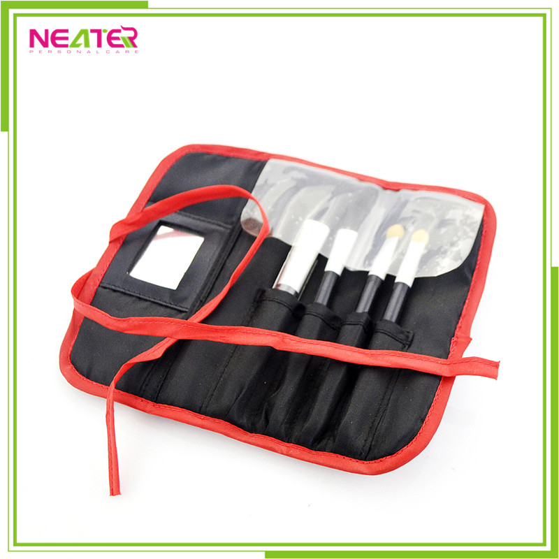 4pcs Professional Soft Cosmetic Eyebrow Shadow Makeup Brush Set Kit with Pouch Bag