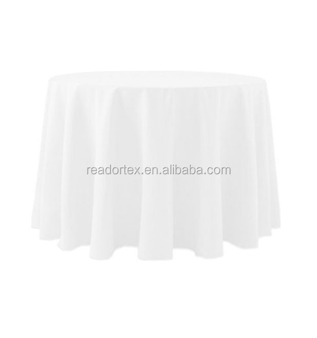 white 100%MJS 120 inch round spun poly table cloth for restaurant