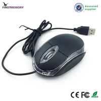 Black USB LED Optical Wired Scroll Wheel Mini Mouse For PC Laptop