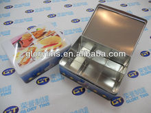 cookies metal tin box with inner divider